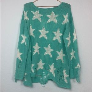 Fantastic Fawn Distressed Star Sweater Mint&White